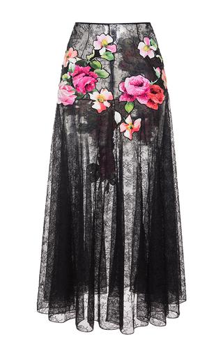 Medium blumarine black floral lace skirt