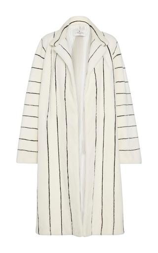Medium j mendel white pinstripe sheared mink fur coat