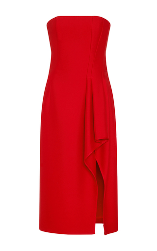 Medium j mendel red crepe strapless bustier dress