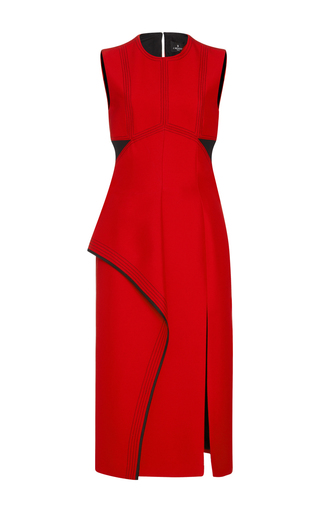 Medium j mendel red crepe layered sheath dress