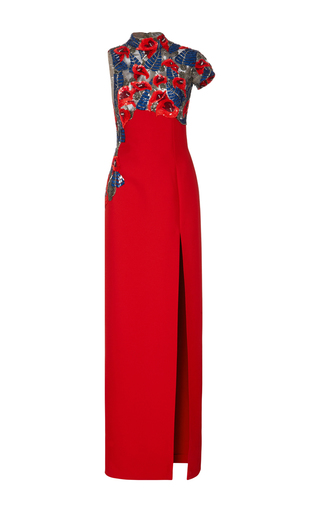 Medium j mendel red sequin embroidered single sleeve column gown