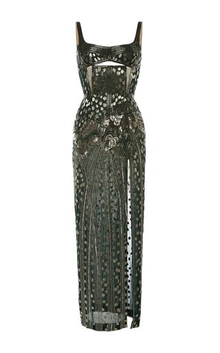Medium j mendel green 3d embroidered balconette gown