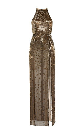 Medium j mendel gold 3d embroidered jewel neck gown