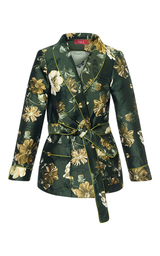 Medium for restless sleepers print iride floral jacquard smoking jacket