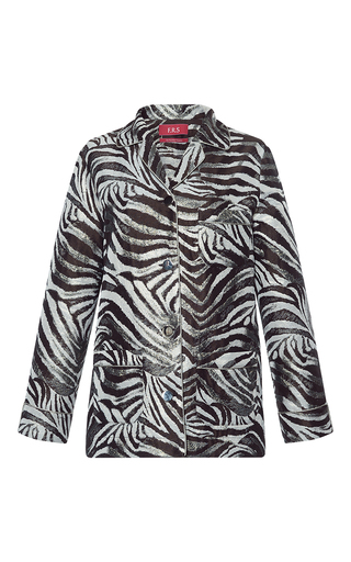 Medium for restless sleepers print rea zebra jacquard lame top