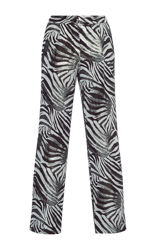 Medium for restless sleepers print crono zebra jacquard lame pant