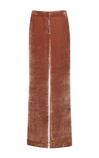 Medium alberta ferretti brown velvet pants with color contrast trim