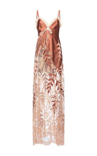 Medium alberta ferretti tan sheer lace maxi dress