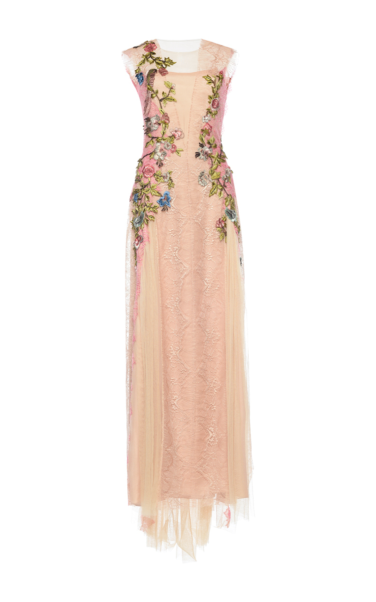8c9139495620db Silk Tulle Floral Embroidered Maxi Dress by Alberta Ferretti
