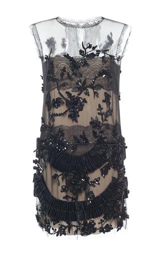 Medium alberta ferretti black embellished tulle lace sheer mini dress