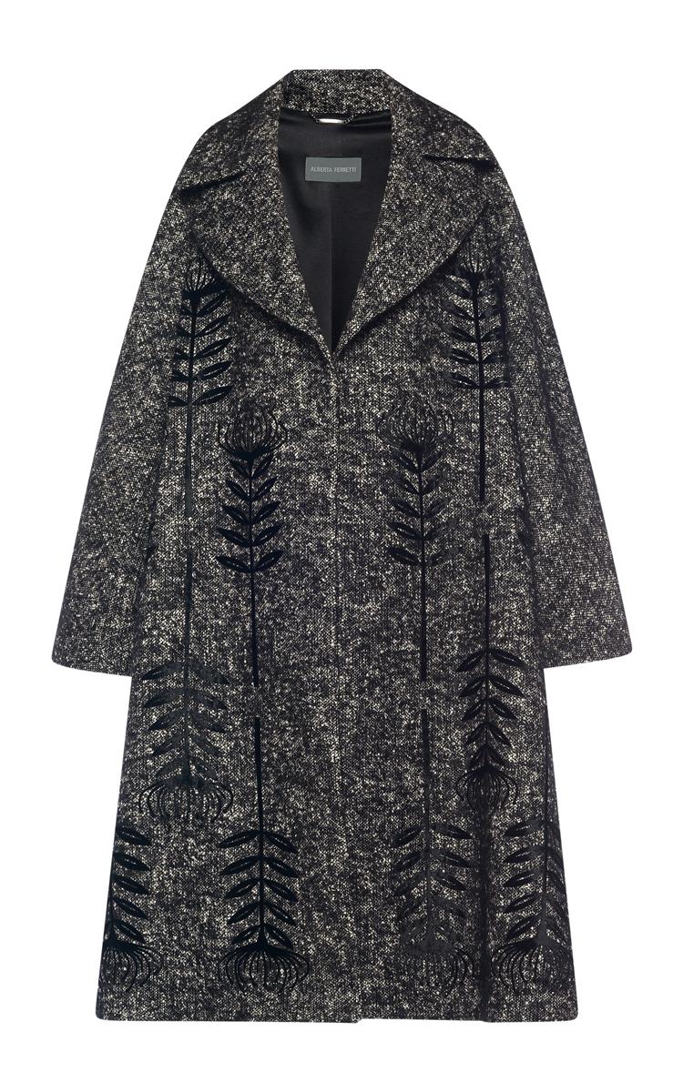 Embroidered Tweed Oversized Coat by Alberta Ferretti | Moda Operandi