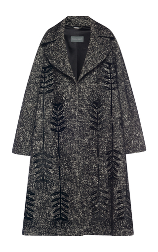 Medium alberta ferretti black embroidered tweed oversized coat