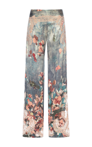 Medium alberta ferretti floral printed lace embroidered silk pants