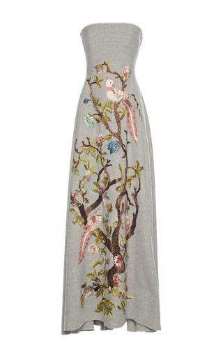 Medium alberta ferretti light grey floral embroidered wool dress
