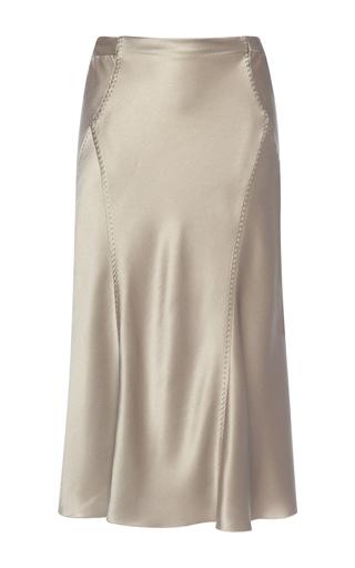 Medium alberta ferretti dark grey silk midi skirt