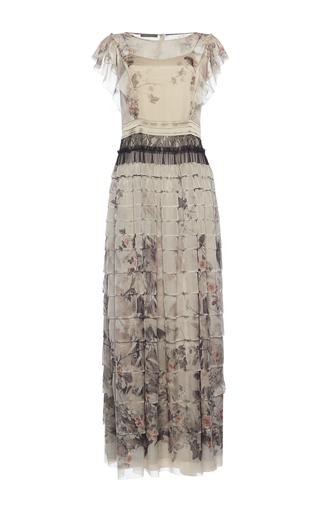 Medium alberta ferretti floral grey printed chiffon tiered dress
