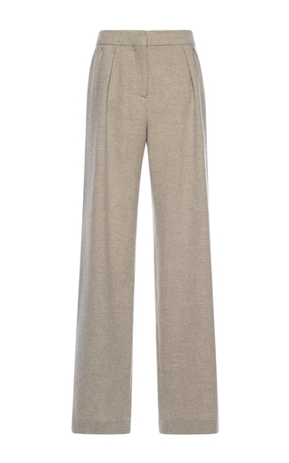 Medium alberta ferretti tan wool pleated straight pants