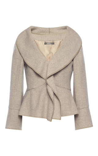Medium alberta ferretti tan wool ruffle front jacket
