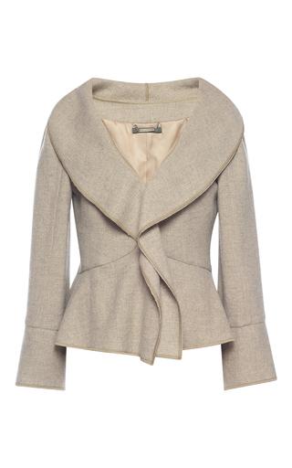 Medium alberta ferretti tan wool ruffle front jacket