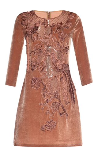 Medium alberta ferretti brown sheer lace embroidered velvet mini dress