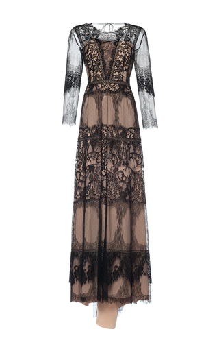 Medium alberta ferretti black tulle lace sheer long dress