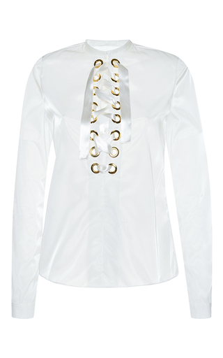 Medium francesco scognamiglio white organza lace up blouse