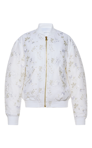 Medium francesco scognamiglio white velvet bomber jacket