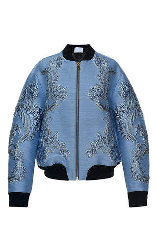 Medium francesco scognamiglio blue baroque jacquard bomber jacket