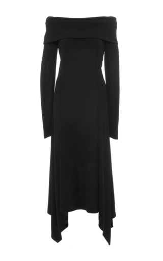 Medium derek lam black long sleeve off the shoulder dress