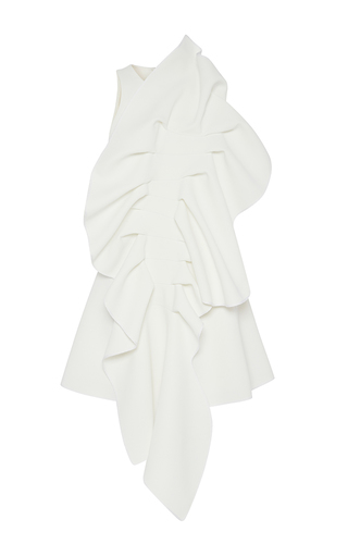 Medium maticevski white ornamental ruffled front dress