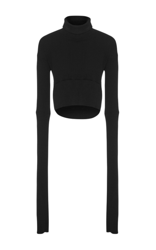 Medium maticevski black mission cropped skivvy sweater