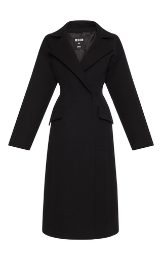 Medium msgm black black long tailored coat