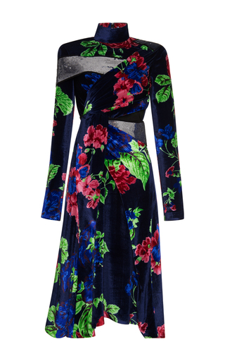 Medium msgm floral embellished floral velvet dress