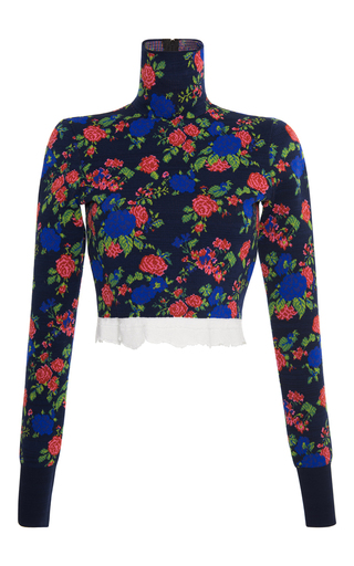 Medium msgm floral floral knit cropped top