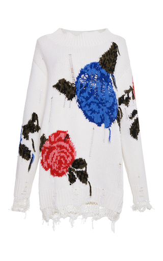 Medium msgm ivory white distressed macro floral tunic