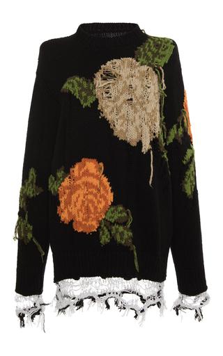 Medium msgm black black distressed macro floral tunic