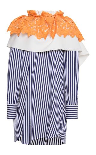 Medium msgm stripe lace ruffled shirt dress