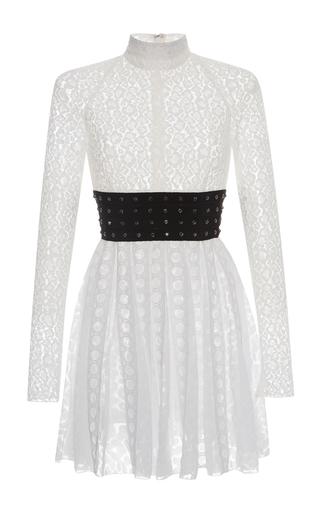 Medium giamba white long sleeve lace mini dress