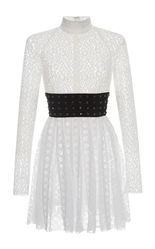 Medium giamba white long sleeve lace mini dress
