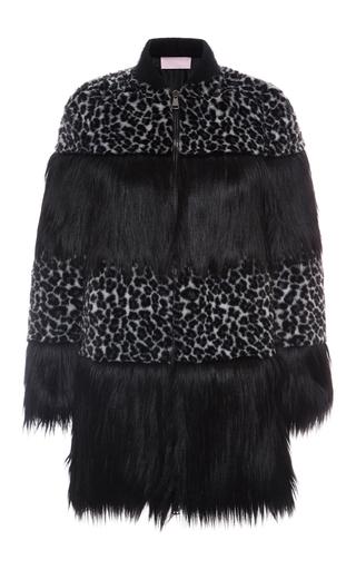 Medium giamba black leopard panel fur coat