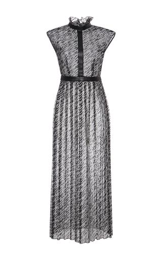 Medium giamba blue ruffle mock neck maxi dress