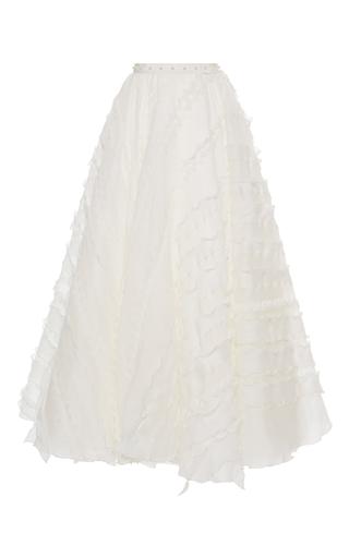 Medium giamba white embroidered a line maxi skirt
