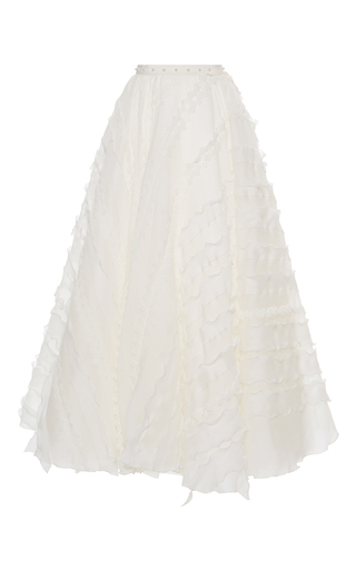 Medium giamba white embroidered a line maxi skirt