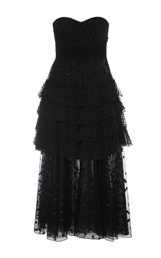 Medium giamba black sweetheart strapless layered dress