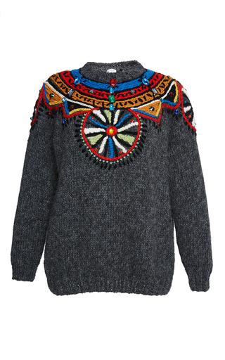 Medium stella jean dark grey grey contenere embroidered sweater