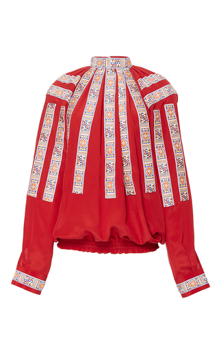 Medium stella jean red scendere embroidered blouse