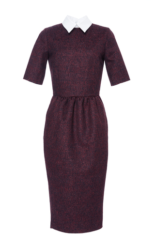 Medium stella jean burgundy tirare collared dress
