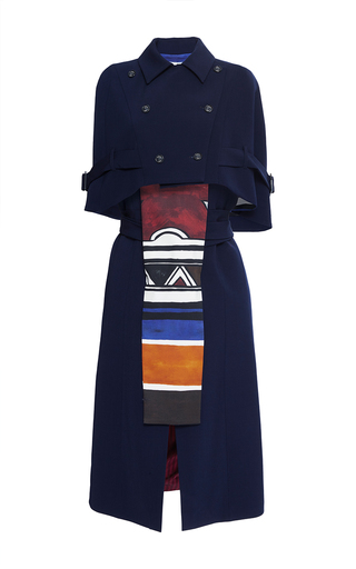 Medium stella jean blue esistere two piece cape dress