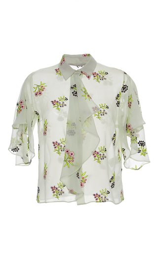 Medium marco de vincenzo floral flower embroidered ruffle shirt
