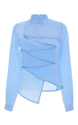 Medium marco de vincenzo light blue light blue high neck ruffle silk blouse